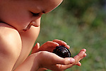 Young girl observing snail in her hands .