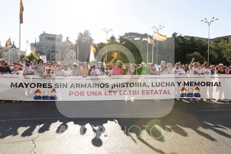 Header of manifestation of the lgtb pride party of Madrid front of the city hall. July 6, 2019. (ALTERPHOTOS/JOHANA HERNANDEZ)