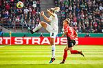 01.05.2019, RheinEnergie Stadion , Köln, GER, 1.FBL, Borussia Dortmund vs FC Schalke 04, DFB REGULATIONS PROHIBIT ANY USE OF PHOTOGRAPHS AS IMAGE SEQUENCES AND/OR QUASI-VIDEO<br /> <br /> im Bild | picture shows:<br /> Zsanett Jakabfi (VfL Wolfsburg #3) klärt vor Giulia Gwinn (SC Freiburg Frauen #7), <br /> <br /> Foto © nordphoto / Rauch