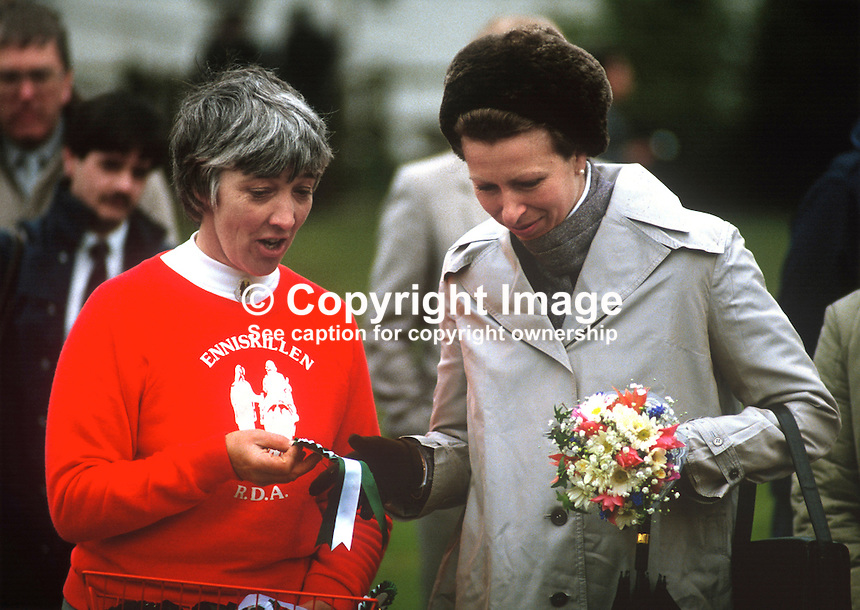 Princess Royal, Princess Anne, at a Riding for the Disabled event in Co Fermanagh during a royal visit to N Ireland, May 1985. She is talking to Marie Morrow, chairman, Fermanagh branch.19850503LL5..Copyright Image from Victor Patterson, 54 Dorchester Park, Belfast, UK, BT9 6RJ..Tel: +44 28 9066 1296.Mob: +44 7802 353836.Voicemail +44 20 8816 7153.Skype: victorpattersonbelfast.Email: victorpatterson@me.com.Email: victorpatterson@ireland.com (back-up)..IMPORTANT: If you wish to use this image or any other of my images please go to www.victorpatterson.com and click on the Terms & Conditions. Then contact me by email or phone with the reference number(s) of the image(s) concerned.