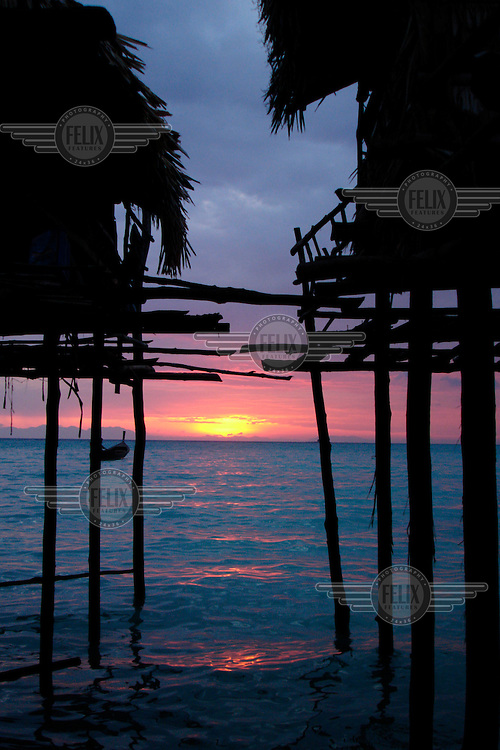 Stilted housing in the Moken village. The Moken are a nomadic tribe of sea gypsies, numbering some two hundred, who live on Mu Ko Surin island off the western coast of Thailand.