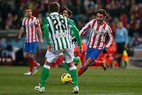 03.02.2013 SPAIN -  La Liga 12/13 Matchday 22th  match played between Atletico de Madrid vs Real Betis Balompie (1-0) at Vicente Calderon stadium. The picture show  Adrian Lopez Alvarez (Spanish striker of At. Madrid)