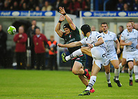 Leicester Tigers' Charlie Thacker attempts to block the kick of Ospreys' Dan Evans<br /> <br /> Photographer Kevin Barnes/CameraSport<br /> <br /> Rugby Union Friendly - Ospreys v Leicester Tigers - Friday 11th August 2017 - Brewery Field - Bridgend<br /> <br /> World Copyright &copy; 2017 CameraSport. All rights reserved. 43 Linden Ave. Countesthorpe. Leicester. England. LE8 5PG - Tel: +44 (0) 116 277 4147 - admin@camerasport.com - www.camerasport.com