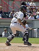 June 27, 2004:  Max St. Pierre of the Erie Seawolves, Eastern League (AA) affiliate of the Detroit Tigers, during a game at Jerry Uht Park in Erie, PA.  Photo by:  Mike Janes/Four Seam Images