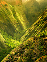 Maunalei Valley with dappled light. Lanai, Hawaii.