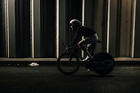 returning through a tunnel to the team buses after finishing the opening TT<br /> <br /> 104th Tour de France 2017<br /> Stage 1 (ITT) - D&uuml;sseldorf &rsaquo; D&uuml;sseldorf (14km)