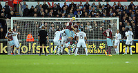 Pictured: James Collins of West Ham (19) fails to score with a header Saturday 10 January 2015<br />