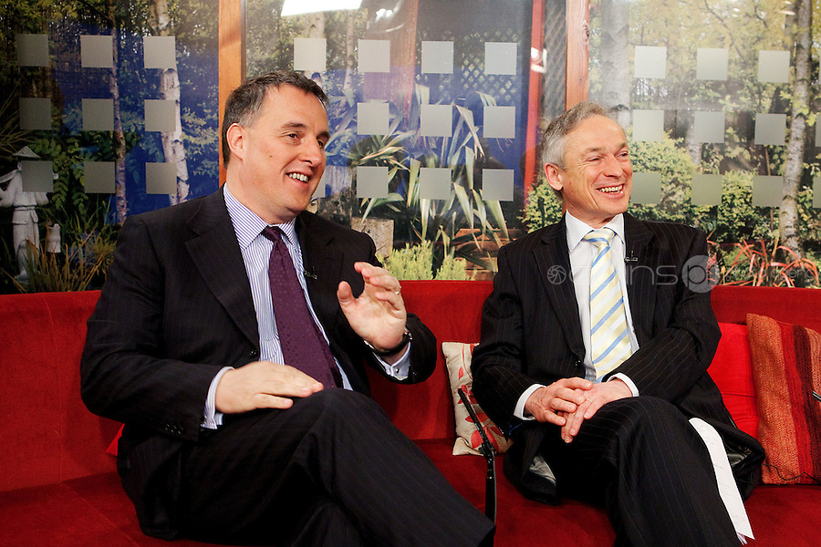 NO REPRO FEE. 7/4/2011. Minister Richard Bruton launches TV3's 'Every Job Counts' campaign.  The Minister for Enterprise, Jobs and Innovation, Richard Bruton and TV3 Chief Executive David McRedmond are pictured at TV3 Studios during an interview for Ireland am in order to launch TV3's new campaign - Every Job Counts'  which aims to highlight and publicise Irish based companies which are creating new jobs in these tough economic times. During April TV3 will highlight the Trojan work undertaken by thousands of Irish businesses which strive to exploit the opportunities which can come out of economic decline and stagnation and which endeavor to grow turnover and employment.Businesses big and small are urged to log onto TV3.ie/Everyjobcounts and tell us how many jobs they have created recently or over the past 12 months and how they managed to do it against all the odds. The most inspiring stories will be filmed and broadcast on TV3's News at 5.30, Ireland am and Midweek during the month. As a further source of assistance and help, TV3 will offer a EUR50,000 advertising and promotional bursary for the most inspiring story of job creation we receive over the course of the month. Details on how to enter TV3's Every Job Counts campaign can be found at: www.tv3.ie/everyjobcounts Picture James Horan/Collins Photos
