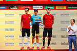 Miguel Angel Lopez (COL) representing Astana on the podium at the end of Stage 16 of the 2017 La Vuelta, an individual time trial running 40.2km from Circuito de Navarra to Logro&ntilde;o, Spain. 5th September 2017.<br /> Picture: Unipublic/&copy;photogomezsport | Cyclefile<br /> <br /> <br /> All photos usage must carry mandatory copyright credit (&copy; Cyclefile | Unipublic/&copy;photogomezsport)