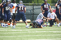 Luke Bowanko grabs a loose ball during open spring practice for the Virginia Cavaliers football team August 7, 2009 at the University of Virginia in Charlottesville, VA. Photo/Andrew Shurtleff