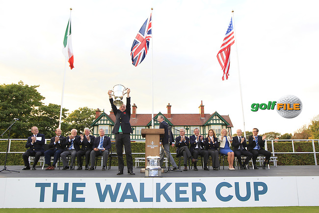 Nigel Edwards (GB&amp;Ireland team captain) with the Walker Cup trophy at the closing ceremony for the Walker cup Royal Lytham St Annes, Lytham St Annes, Lancashire, England. 13/09/2015<br /> Picture Golffile | Fran Caffrey<br /> <br /> <br /> All photo usage must carry mandatory copyright credit (&copy; Golffile | Fran Caffrey)