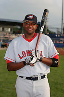 Lowell Spinners Jorge Jimenez poses for a photo before a NY-Penn League game at Dwyer Stadium on July 21, 2006 in Batavia, New York.  (Mike Janes/Four Seam Images)