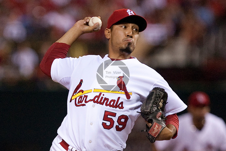 July 1, 2010        St. Louis Cardinals relief pitcher Fernando Salas (59) throws late in the game.  The Milwaukee Brewers defeated the St. Louis Cardinals 4-1 in the first game of a four-game homestand at Busch Stadium in downtown St. Louis, MO on Thursday July 1, 2010.