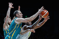 July 14, 2016: KADEEM ALLEN (5) of the Arizona Wildcats receives the ball during game 2 of the Australian Boomers Farewell Series between the Australian Boomers and the American PAC-12 All-Stars at Hisense Arena in Melbourne, Australia. Sydney Low/AsteriskImages.com
