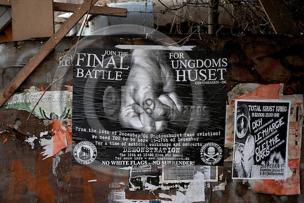 """BERLIN - GERMANY 18. DECEMBER 2006 -- A poster advertising the Final Battle for Ungdomshuset (a squatted house in Copenhagen) it the squatted youth house K÷PI in Koebenicker Strasse in Berlin-Mitte -- PHOTO: CHRISTIAN T. JOERGENSEN / EUP & IMAGES..This image is delivered according to terms set out in """"Terms - Prices & Terms"""". (Please see www.eup-images.com for more details)"""