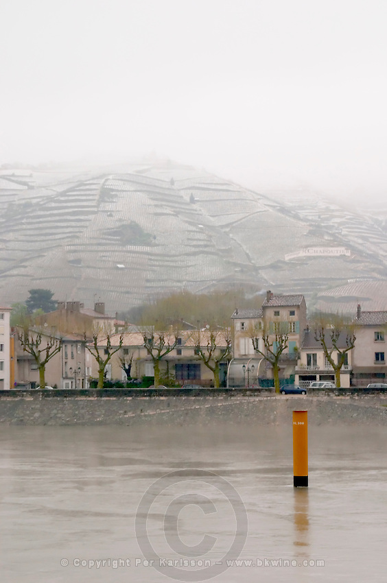 The Rhone river and the water front. The Hermitage vineyards on the hill behind the city Tain-l'Hermitage, on the steep sloping hill, stone terraced. Sometimes spelled Ermitage.   Vineyards under snow in seasonably exceptional weather in April 2005.  Tain l'Hermitage, Drome, Drôme, France, Europe