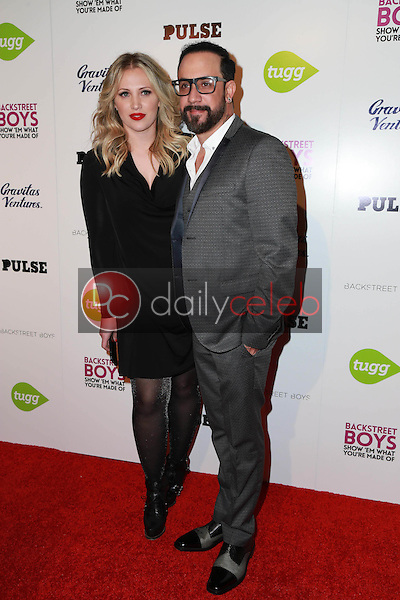 """A.J. McLean, Rochelle Karidis<br /> at the Backstreet Boys """"Show 'Em What You're Made Of"""" Premiere, Arclight, Hollywood, CA 01-29-15<br /> David Edwards/DailyCeleb.com 818-249-4998"""
