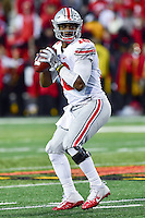 College Park, MD - NOV 12, 2016: Ohio State Buckeyes quarterback J.T. Barrett (16) in the pocket during game between Maryland and Ohio State at Capital One Field at Maryland Stadium in College Park, MD. (Photo by Phil Peters/Media Images International)