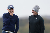 4th October 2017, The Old Course, St Andrews, Scotland; Alfred Dunhill Links Championship, practice round; Rory McIlroy, of Northern Ireland, and Niall Horan of pop group One Direction share a laugh during a practice round before the Alfred Dunhill Links Championship on the Old Course, St Andrews