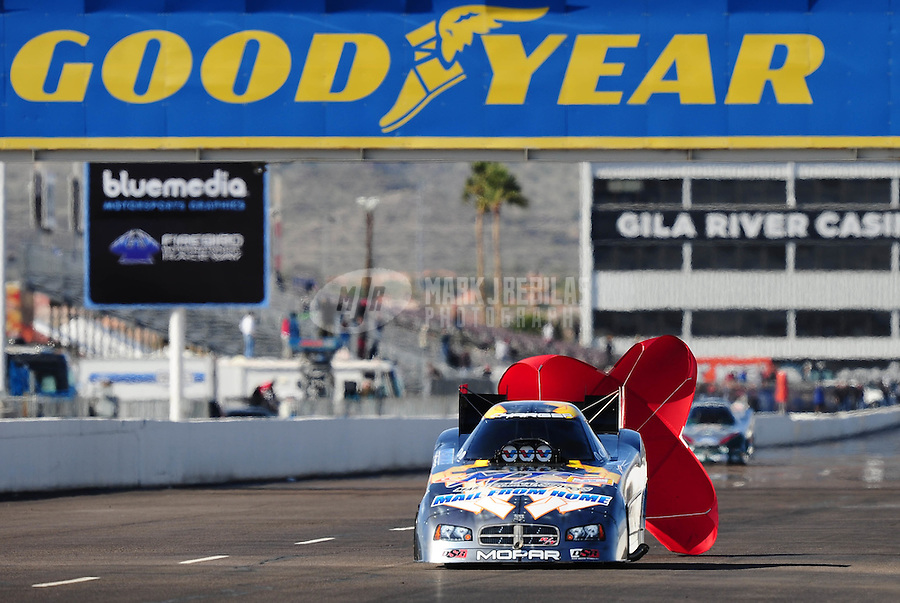 Feb. 22, 2010; Chandler, AZ, USA; NHRA funny car driver Jack Beckman after winning the Arizona Nationals at Firebird International Raceway. The race is being run Monday after weather and darkness led to the cancellation of Sunday race action. Mandatory Credit: Mark J. Rebilas-