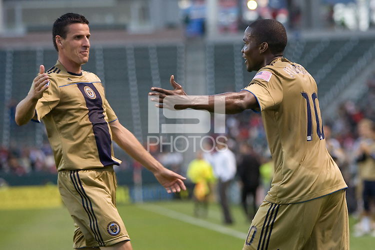 Philadelphia Union forward Danny Mwanga (10) is congratulated by teammate Sebastien Le Toux (9) after scoring a goal. The Philadelphia Union and CD Chivas USA played to 1-1 draw at Home Depot Center stadium in Carson, California on Saturday evening July 3, 2010..