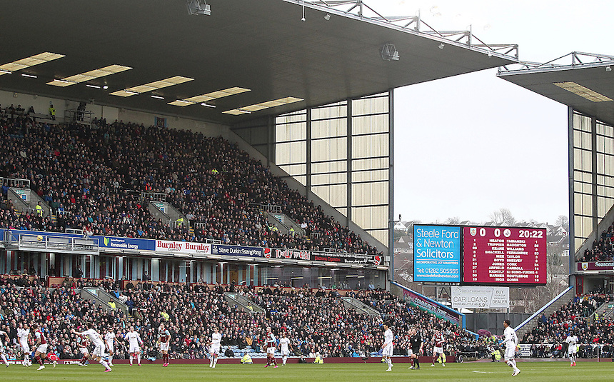 A general view of the action at Turf Moor home of Burnley<br /> <br /> Photographer Rich Linley/CameraSport<br /> <br /> Football - Barclays Premiership - Burnley v Swansea City - Friday 27th February 2015 - Turf Moor - Burnley<br /> <br /> &copy; CameraSport - 43 Linden Ave. Countesthorpe. Leicester. England. LE8 5PG - Tel: +44 (0) 116 277 4147 - admin@camerasport.com - www.camerasport.com