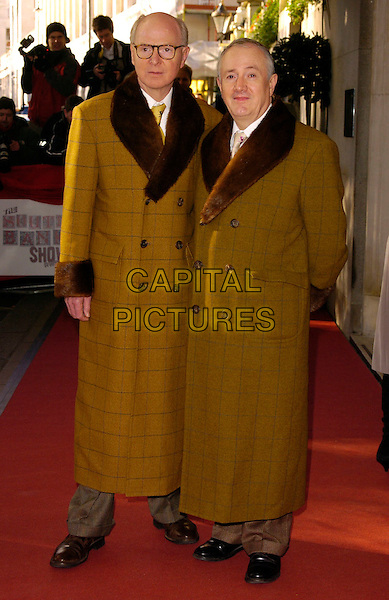 GILBERT PROESCH & GEORGE PASSMORE.The South Bank Show Awards, Savoy Hotel, London, UK..January 23rd, 2007.full length brown yellow pattern fur collar coat lines pattern.CAP/CAN.©Can Nguyen/Capital Pictures