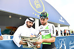 Mark Cavendish (GBR) Team Dimension Data at sign on before the start of Stage 4 The Municipality Stage of the Dubai Tour 2018 the Dubai Tour&rsquo;s 5th edition, running 172km from Skydive Dubai to Hatta Dam, Dubai, United Arab Emirates. 9th February 2018.<br /> Picture: LaPresse/Massimo Paolone | Cyclefile<br /> <br /> <br /> All photos usage must carry mandatory copyright credit (&copy; Cyclefile | LaPresse/Massimo Paolone)