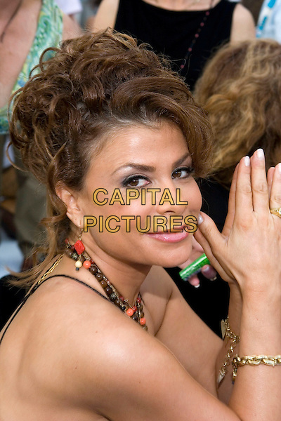 PAULA ABDUL.LA Mart and cbk present the 4th annual American Foundation for AIDS Research (Amfar) fundraiser/street party entitled  'Takin' it to the Beach'  held at 1933 S. Broadway, Los Angeles, California..July 23rd, 2005.Photo Credit: Zach Lipp/AdMedia.headshot portrait neckalces beads hands together praying.www.capitalpictures.com.sales@capitalpictures.com.© Capital Pictures.