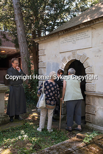 Inspection of the Gibson Tomb, St Nicholas&rsquo; Church  Sutton Surrey 2016. Mary Gibson died 10 October 1793 aged 64. In her last Will she bequest to the Minister and Churchwardens &pound;500-00 at 3% consolidated Bank Annuities on trust to be applied amongst other ways as follows. &pound;5-00 to the Minister forever for preaching a sermon on the 12 August.  &pound;5-00 to be distributed that day by the Churchwardens to the poor. &pound;4-00 to be divided between the Churchwardens on that day in every year for surveying and examining the Gibsons family vault.  <br /> <br /> The bequest has now been amalgamated  with other bequests  left to the church, the revenues being used in the community.