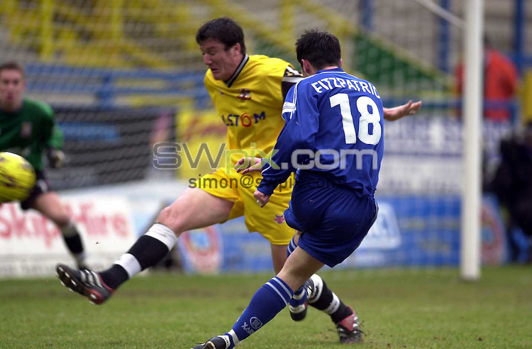 Pix: Simon Wilkinson/SWpix.com. Soccer, Nationwide League Division Three. Halifax Town v Lincoln City. 19/01/2002...COPYWRIGHT PICTURE>>SIMON WILKINSON>>01943 436649>>..Halifax's Ian Fitzpatrick and Lincoln's Grant Brown