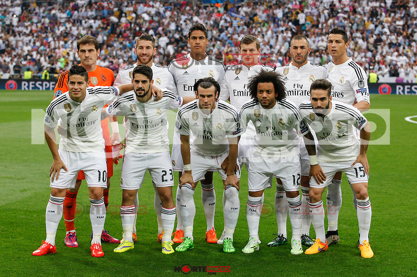 Real Madrid´s players before the Champions League semi final soccer match between Real Madrid and Juventus at Santiago Bernabeu stadium in Madrid, Spain. May 13, 2015. (ALTERPHOTOS/Victor Blanco) /NortePhoto.COM