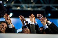 Roma, 20 Marzo, 2010. Esponenti del PDL cantano l'inno durante una manifestazione del Popolo delle Libertà