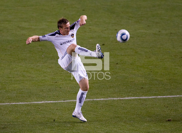 LA Galaxy midfielder Chris Birchall traps a ball. The LA Galaxy defeated the New England Revolution 1-0 at Home Depot Center stadium in Carson, California on Saturday evening March 27, 2010.  .