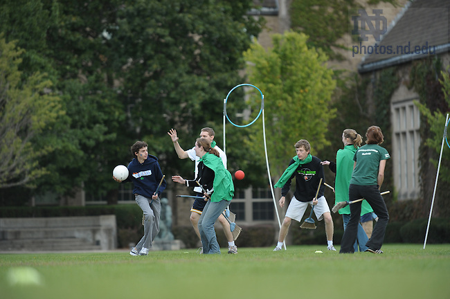 Quidditch on South Quad.  For Notre Dame Magazine..Photo by Matt Cashore/University of Notre Dame