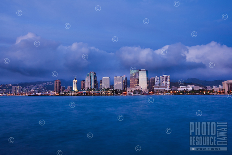 View of Aloha Tower Marketplace and downtown Honolulu from the ocean