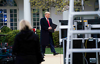 United States President Donald Trump arrives to participate in a Fox News Virtual Town Hall with Anchor Bill Hemmer, in the Rose Garden of the White House in Washington, DC, Tuesday, March, 24, 2020. <br /> Credit: Doug Mills / Pool via CNP/AdMedia