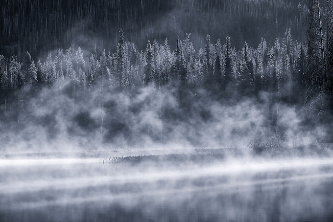 First morning light reflected on the mist over Sparks Lake in Oregon.