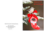 """XmasTitmouse_Card<br /> Standard format notecard, 7"""" X 5"""" (folded) glossy card stock, blank inside, includes matching envelope and clear presentation bag."""