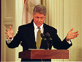 United States President Bill Clinton explains his answer during a joint press confrence with President Hosni Mubarak of Egypt in the East Room of the White House in Washington, D.C. on Monday, March 10, 1997..Credit: Ron Sachs / CNP