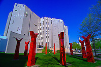 "Northern Building of the Denver Art Museum with sculpture ""Wheel"" by Edgar Heap of Birds in foreground, Civic Center Cultural Complex, Denver, Colorado USA"