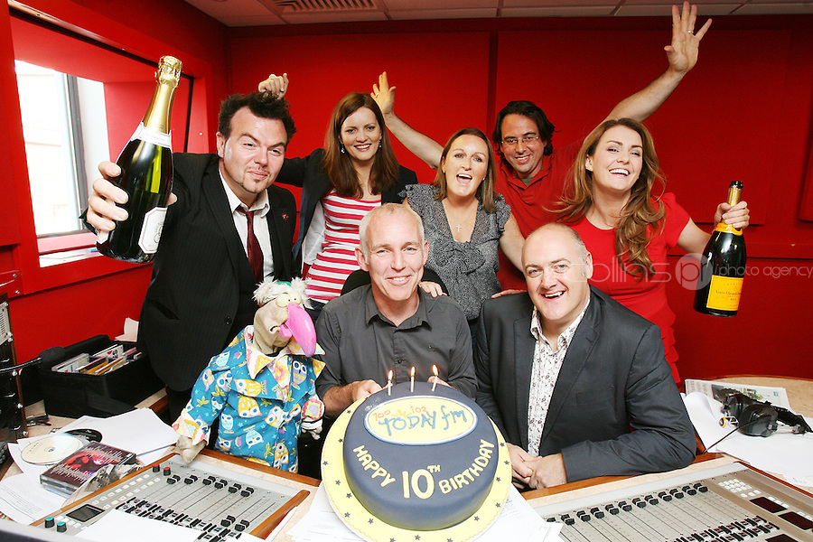 3/9/2010. 10 years of the Ray D'Arcy Show.  Jack L, Dustin, Siobhan Hogan, Jenny Kelly, Will Hanafin, Mairead Farrell and Daire O'Briain are pictured with Ray D'Arcy in the Today FM Studios, live on the Ray D'Arcy Show where the show is celebrating 10 years to the day of broadcasting on Today FM. Picture James Horan/Collins Photos