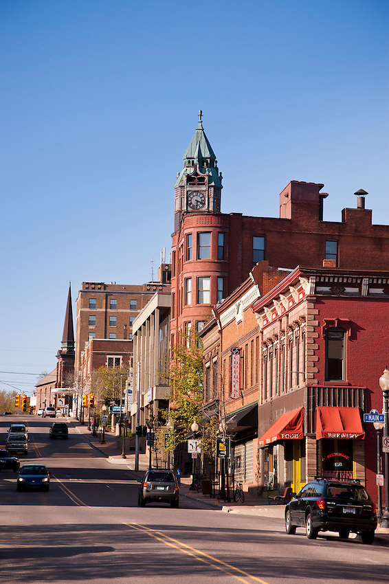 Downtown Marquette Michigan in spring.