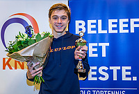 Wateringen, The Netherlands, December 1,  2019, De Rhijenhof , NOJK 12 and16 years, Runner up boys 16 years:  Brian Bozemoj (NED) with the trophy<br /> Photo: www.tennisimages.com/Henk Koster