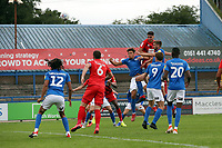 O's Dan Happe header during Macclesfield Town vs Leyton Orient, Sky Bet EFL League 2 Football at the Moss Rose Stadium on 10th August 2019