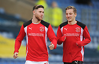Fleetwood Town's Wes Burns and George Glendon during the pre-match warm-up <br /> <br /> Photographer Kevin Barnes/CameraSport<br /> <br /> The EFL Sky Bet League One - Oxford United v Fleetwood Town - Tuesday 10th April 2018 - Kassam Stadium - Oxford<br /> <br /> World Copyright &copy; 2018 CameraSport. All rights reserved. 43 Linden Ave. Countesthorpe. Leicester. England. LE8 5PG - Tel: +44 (0) 116 277 4147 - admin@camerasport.com - www.camerasport.com