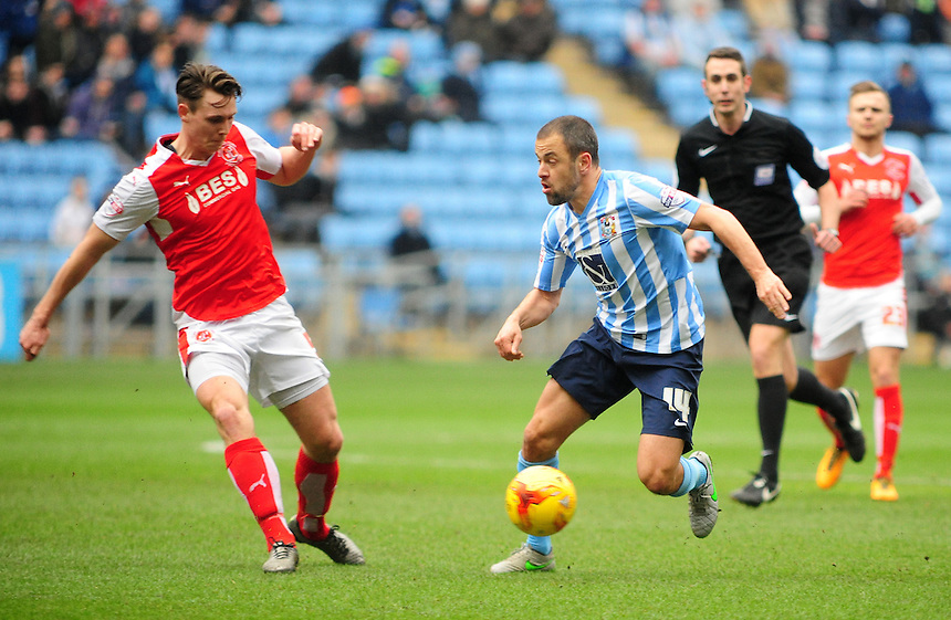 Coventry City's Joe Cole looks to get past Fleetwood Town's Eggert Jonsson<br /> <br /> Photographer Andrew Vaughan/CameraSport<br /> <br /> Football - The Football League Sky Bet League One - Coventry City v Fleetwood Town - Saturday 27th February 2016 - Ricoh Stadium - Coventry   <br /> <br /> &copy; CameraSport - 43 Linden Ave. Countesthorpe. Leicester. England. LE8 5PG - Tel: +44 (0) 116 277 4147 - admin@camerasport.com - www.camerasport.com