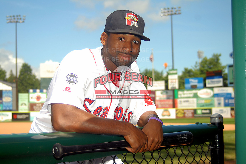 Portland Sea Dogs outfielder Jackie Bradley Jr. poses for a photo prior to a game versus the Reading Phillies at Hadlock Field in Portland, Maine on September 3, 2012.  (Ken Babbitt/Four Seam Images)
