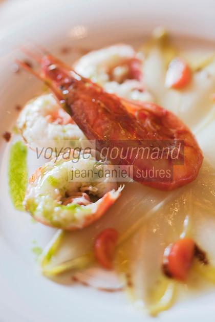 Europe/Suisse/Saanenland/Gstaad:   Endives belges aux  crustacés, recette de Robert Speth, du restaurant: Chesery, Chesery Platz