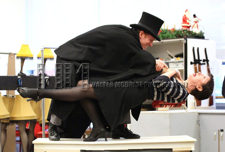 Mark Ledbetter and Caroline O'Connor performing in the Press Preview  for 'A Christmas Story, The Musical' at the New 42nd Street Studios on 10/22/2012 in New York City.